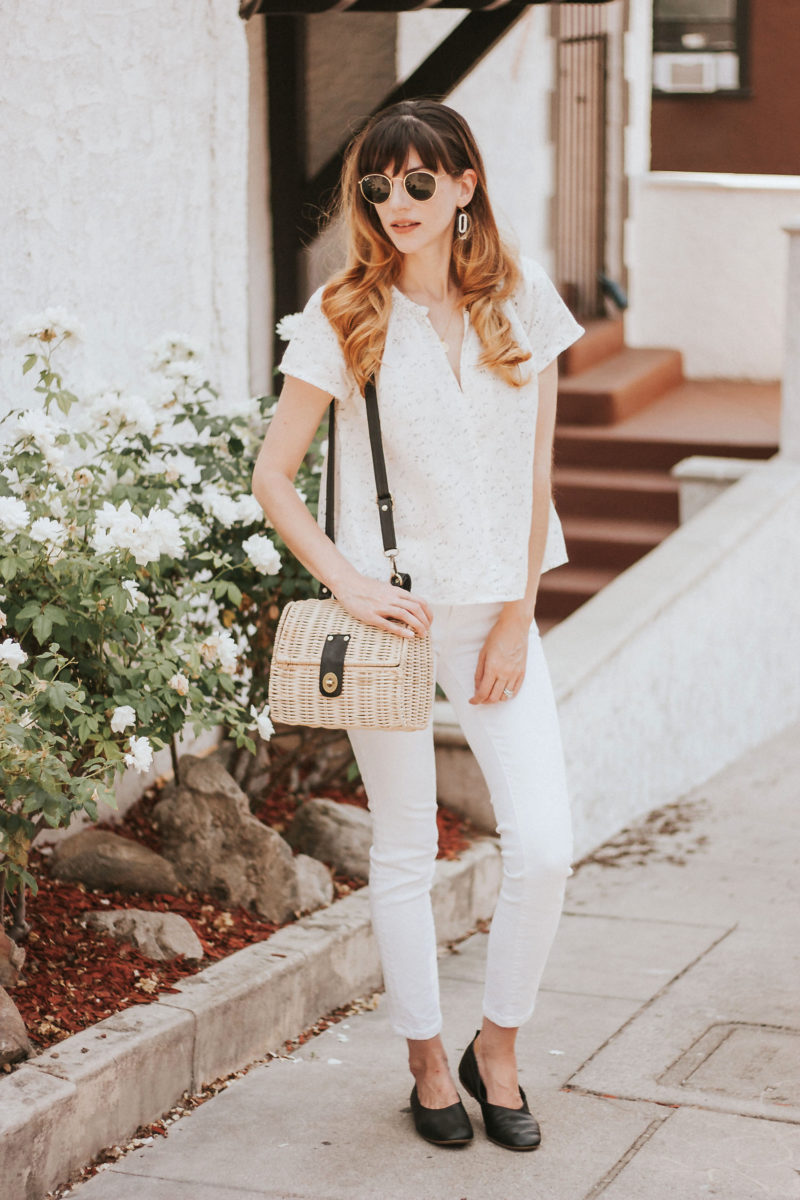 White summer outfit featuring Voloshin cotton linen top, Industry Standard denim, Everlane Day Glove shoes and 31 bits wicker bag