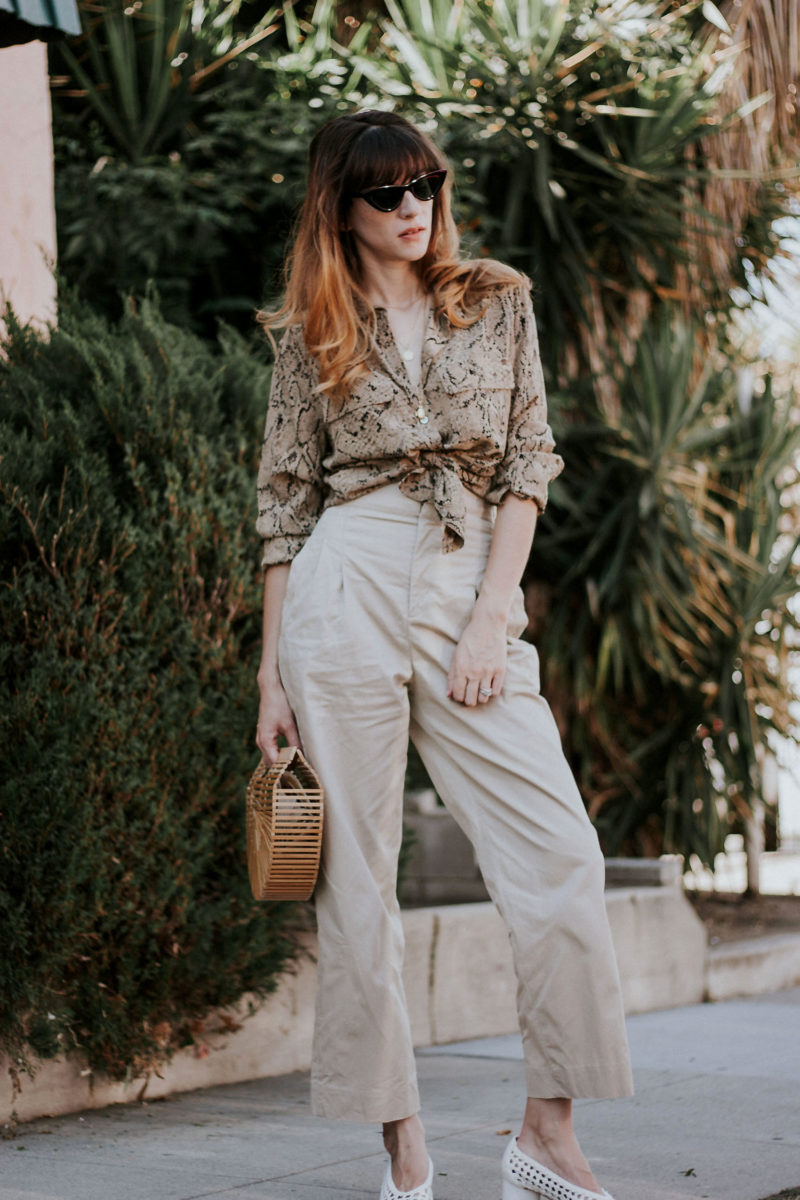 Los Angeles Style Blogger wearing Equipment Designer Blouse from thredUP, & Other Stories Pants, Cult Gaia bag