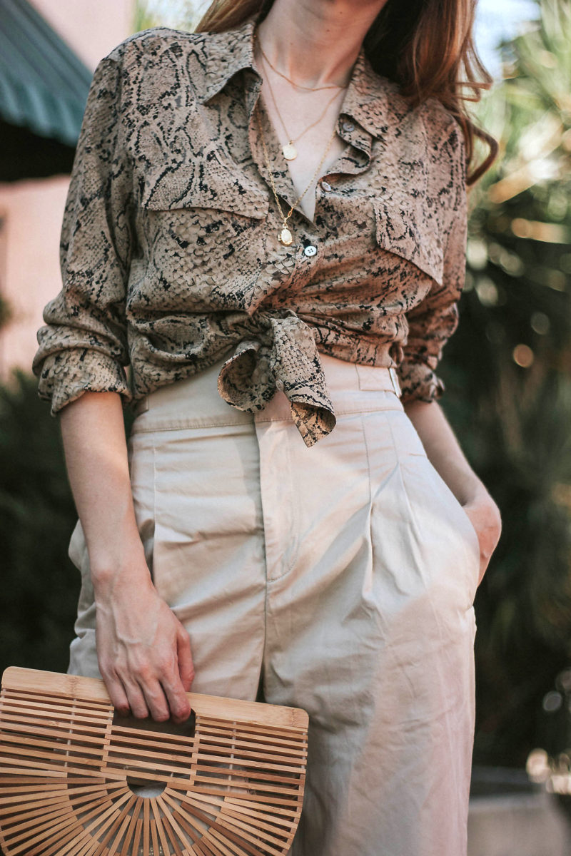 Snakeskin Silk Blouse with & Other Stories Blouse and Cult Gaia Bag