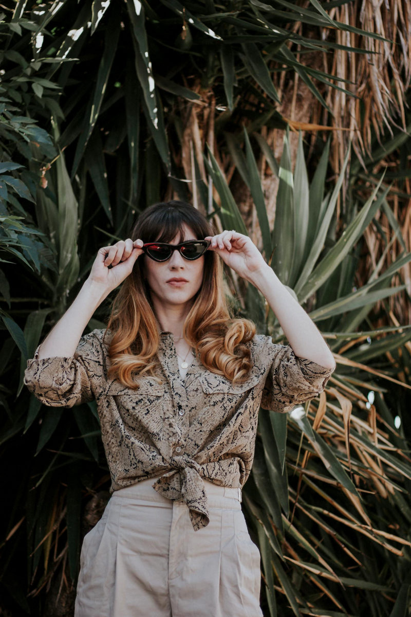 Tied Silk Blouse with & Other Stories Pants and Zara Cat Eye Sunglasses