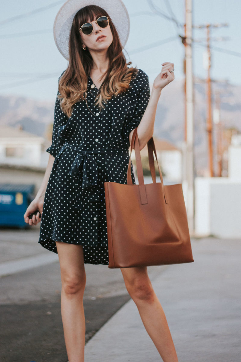 Everlane Polka Dot Shirtdress with tie waist, Everlane leather Market Day Tote