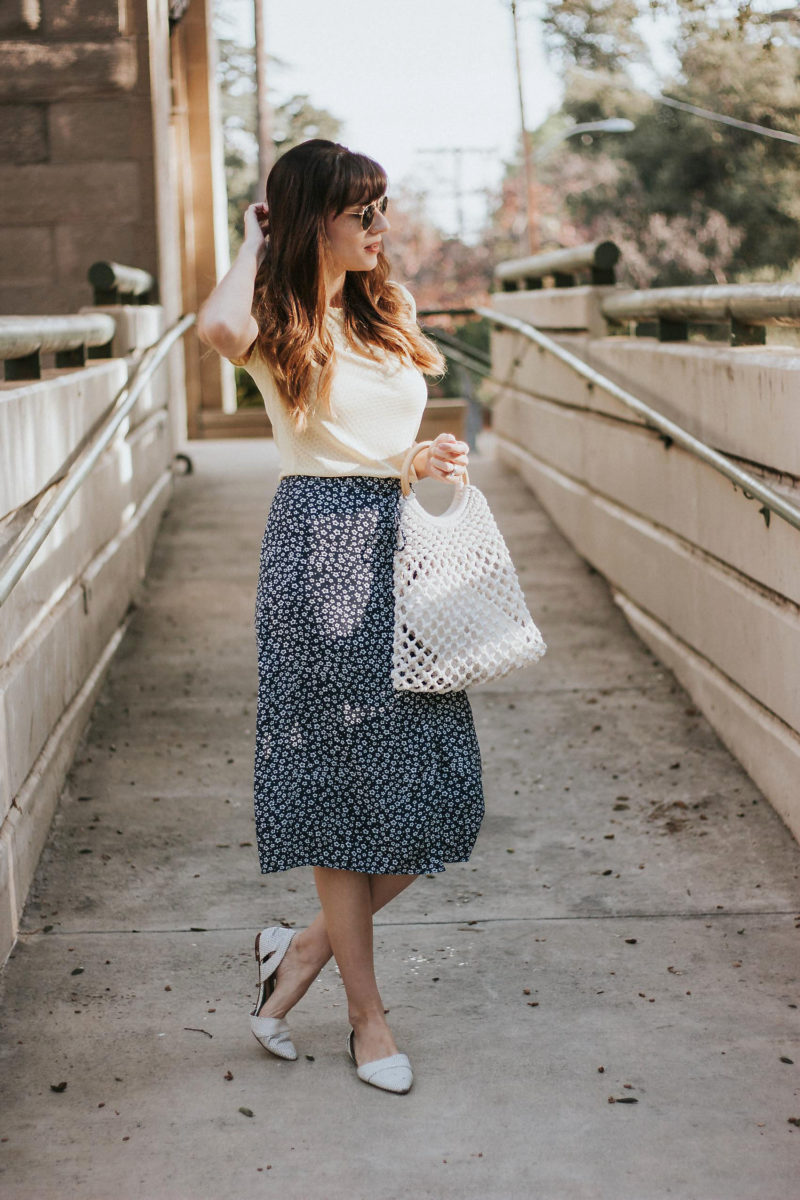 Los Angeles Fashion Blogger wearing Rouje Midi Skirt and & Other Stories Tee