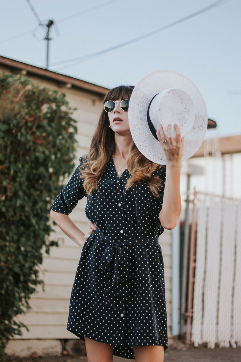 Kin the Label White Straw Hat and Everlane Polka Dot Shirt Dress