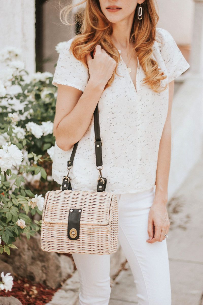 Ethically made 31 bits wicker bag with white summer outfit