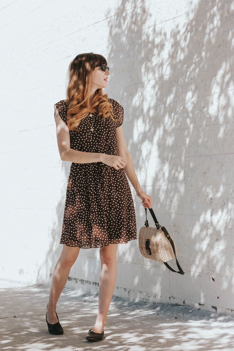 Los Angeles Style Blogger wearing a brown polka dot dress from ThredUp, 31 bits crossbody bag.