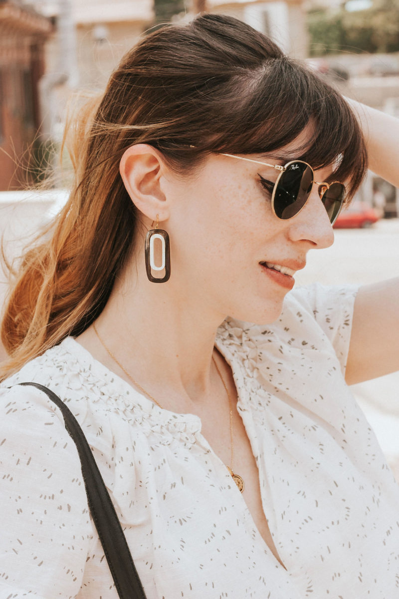 Purpose Jewelry earrings on Los Angeles fashion blogger