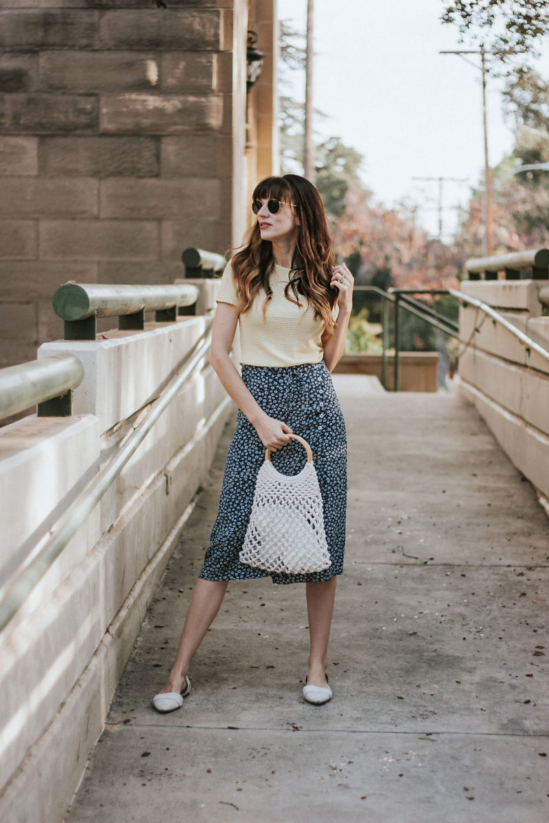 Rouje Midi Skirt with Topshop Ring Handle bag and yellow & Other Stories tee