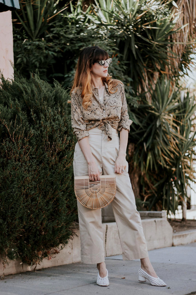 Safari Chic Outfit - Los Angeles Style Blogger wearing Equipment Blouse, & Other Stories Blouse, Topshop Woven Heels, Bamboo Bag