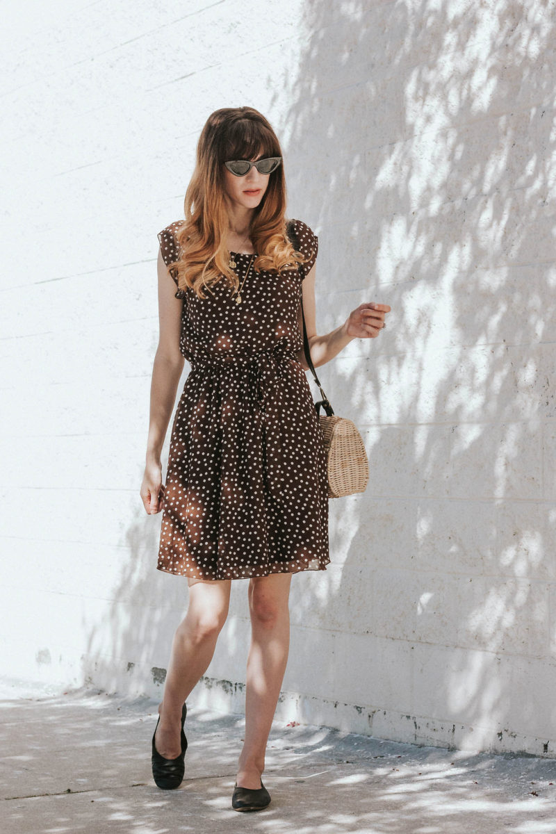 Los Angeles Fashion Blogger wearing dress from ThredUp and flats from Everlane