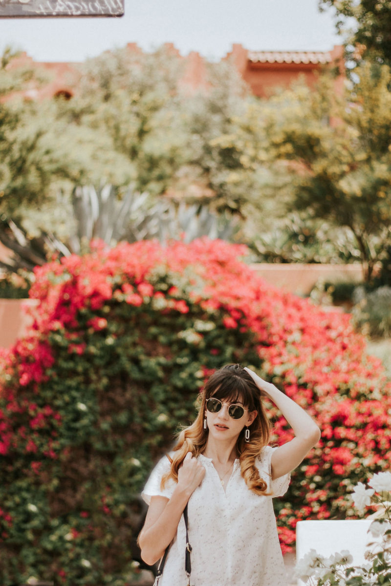 Summer white outfit in Los Angeles Echo Park