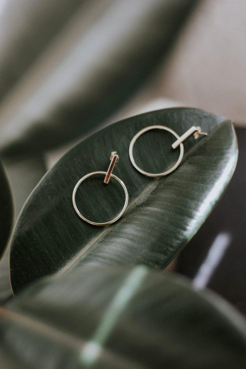 AUrate Minimalist Earrings on Leaf