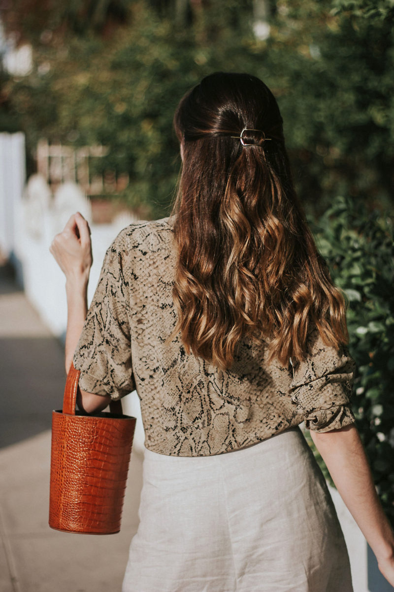 Ellen Mote Jewelry Hair Pin in Long Brown Balayage Hair