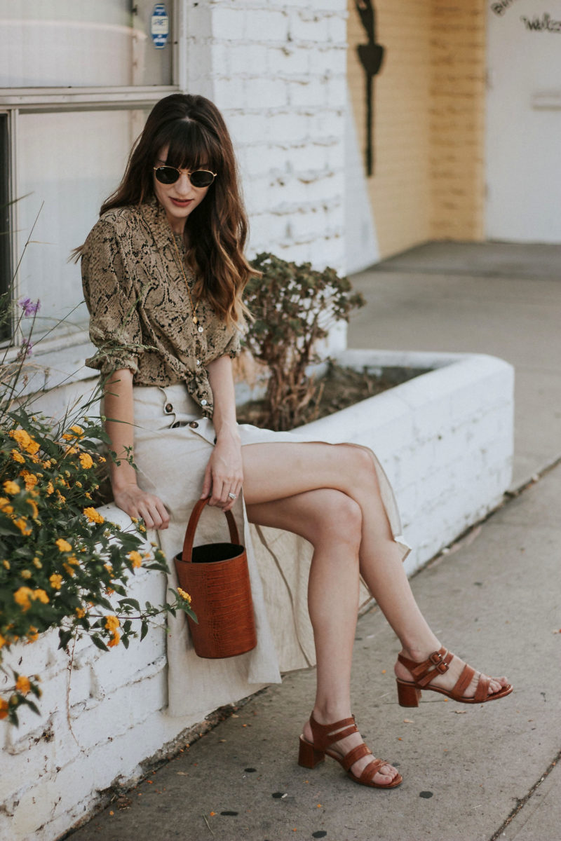 Marais Croc Sandals with Brown Croc Bucket bag