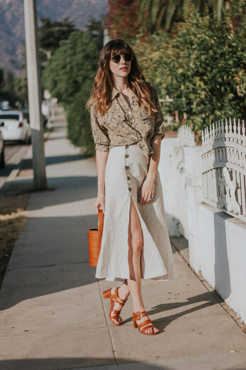 A neutral summer outfit featuring thredUP, Reformation, and Marais USA