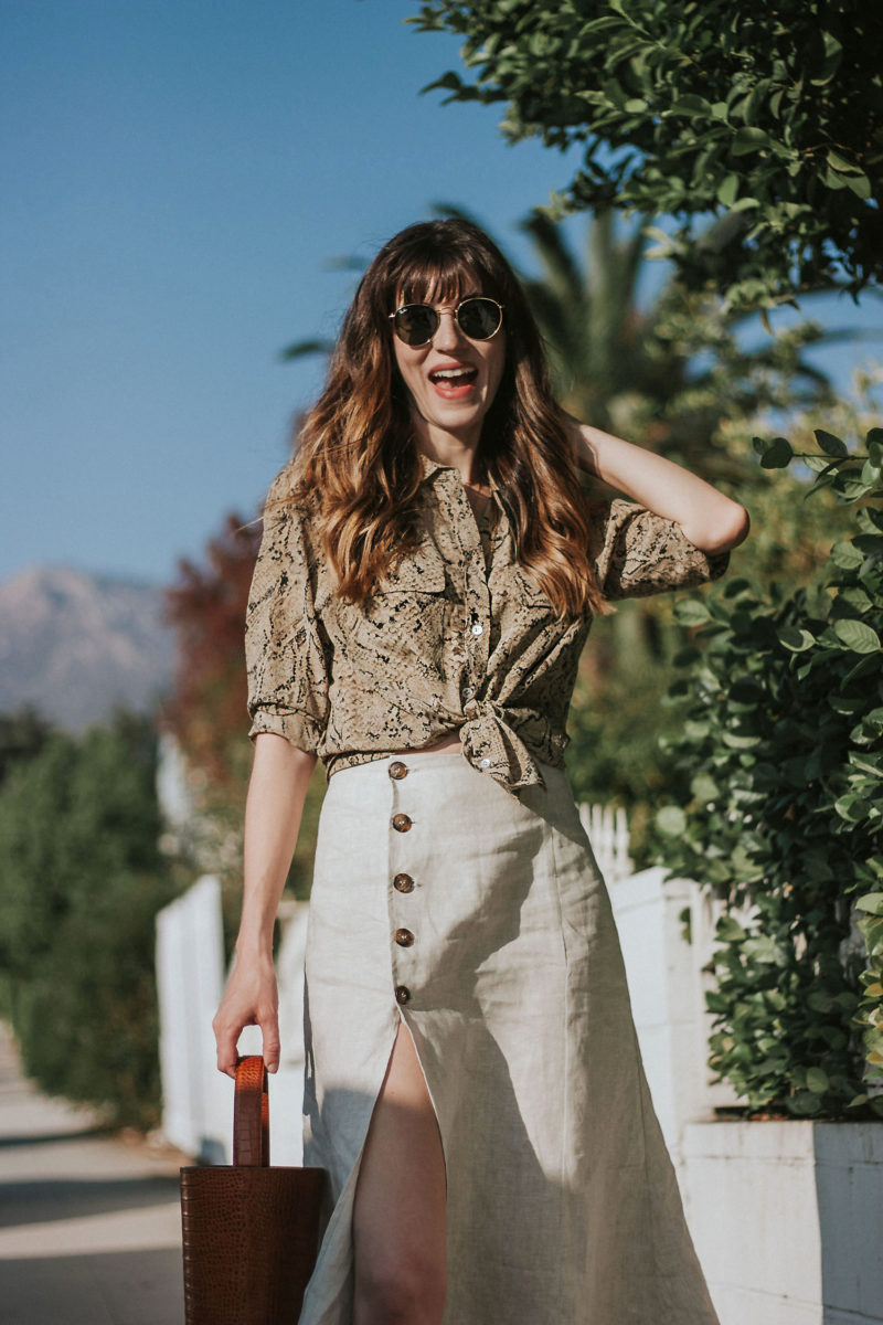 Equipment Snakeskin Silk Blouse with Reformation Linen Skirt