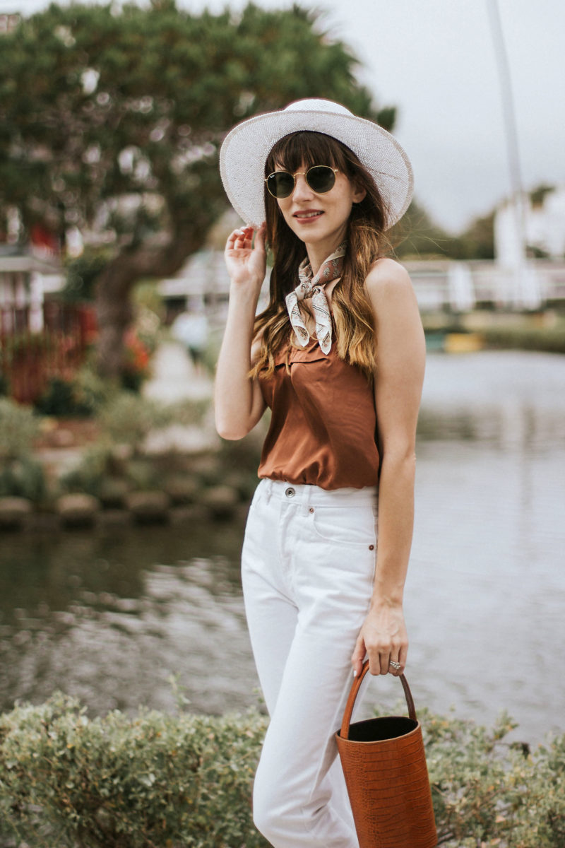 Rouje Satin Cami with White Denim Jeans, Marais Bucket Bag, Kin the Label Hat
