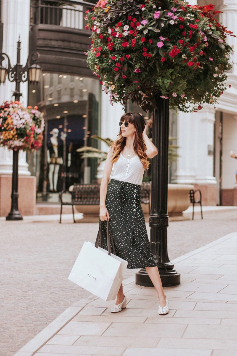 Los Angeles Blogger wearing Rouje Dot Midi Skirt, Celine Bag on Rodeo Drive