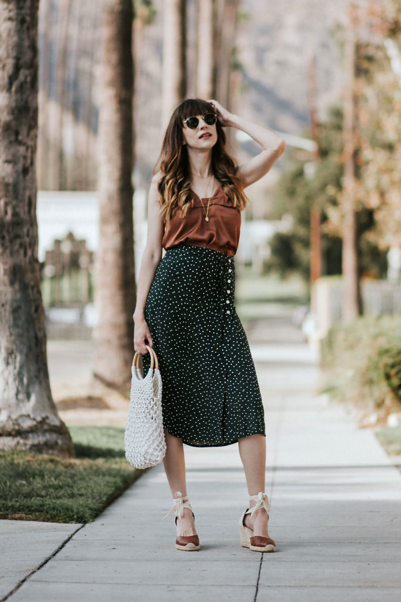 Rouje green dot midi skirt with satin cami and soludos espadrilles