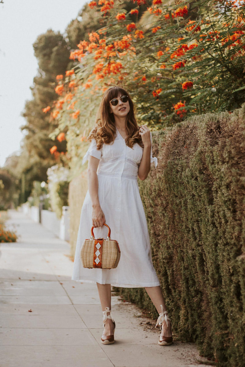 White Cotton summer dress from Rouje on Los Angeles Fashion Blogger