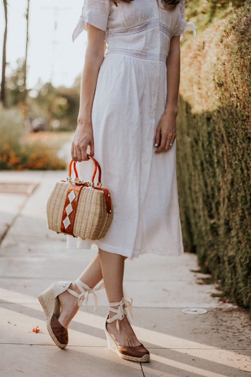 Vintage Straw Bag with Soludos Espadrilles and white cotton dress