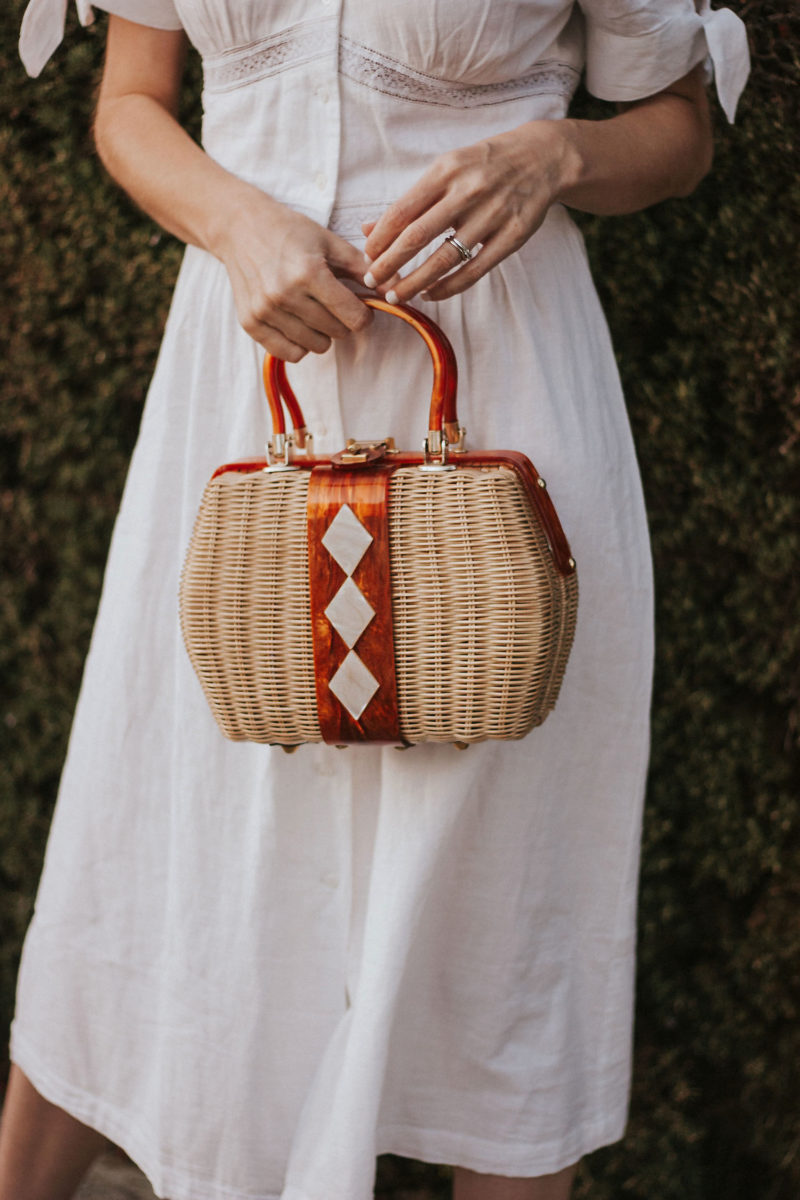 Vintage Wicker Bag with White Summer Dress