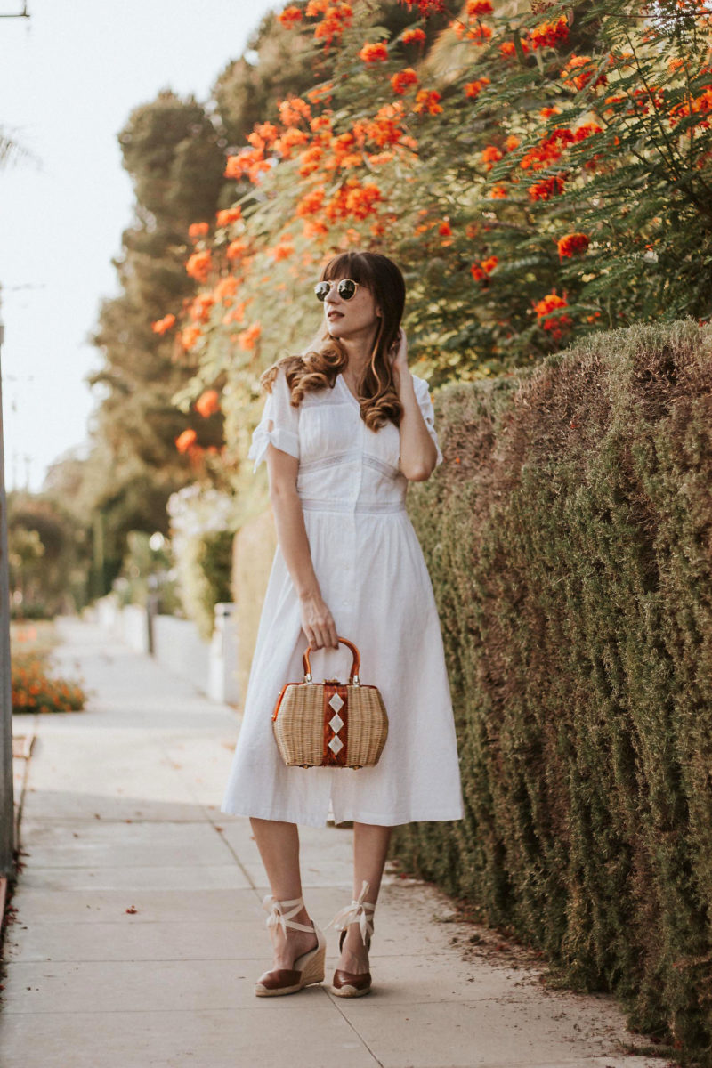 Vintage French Girl Style, White Cotton Dress, Vintage Bag