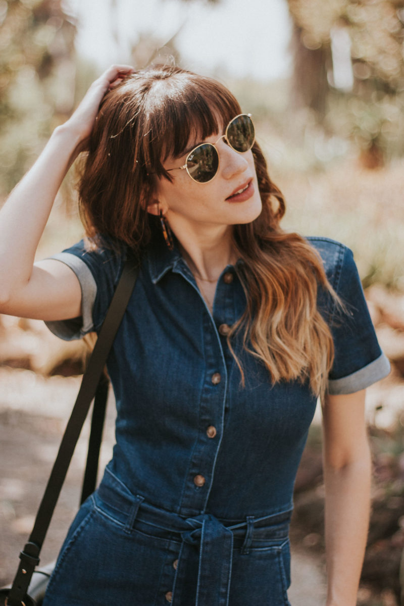 70's inspired denim jumpsuit from Sezane