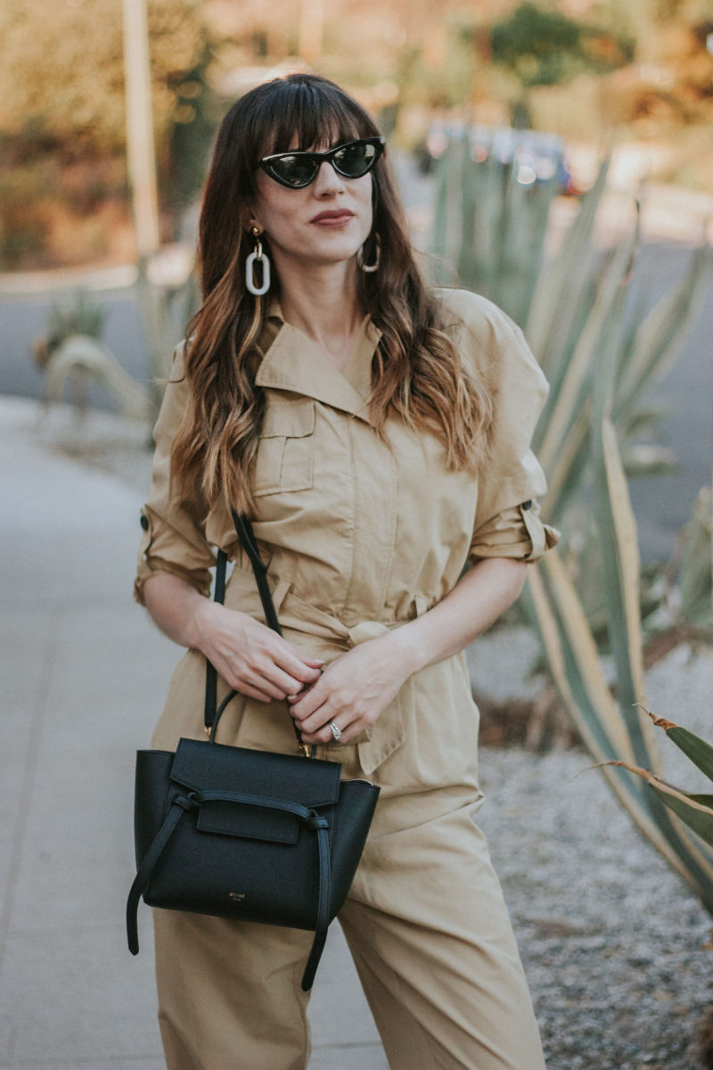 Celine Nano Belt Bag and tan Who What Wear Collection jumpsuit on Los Angeles Fashion Blogger Jeans and a Teacup