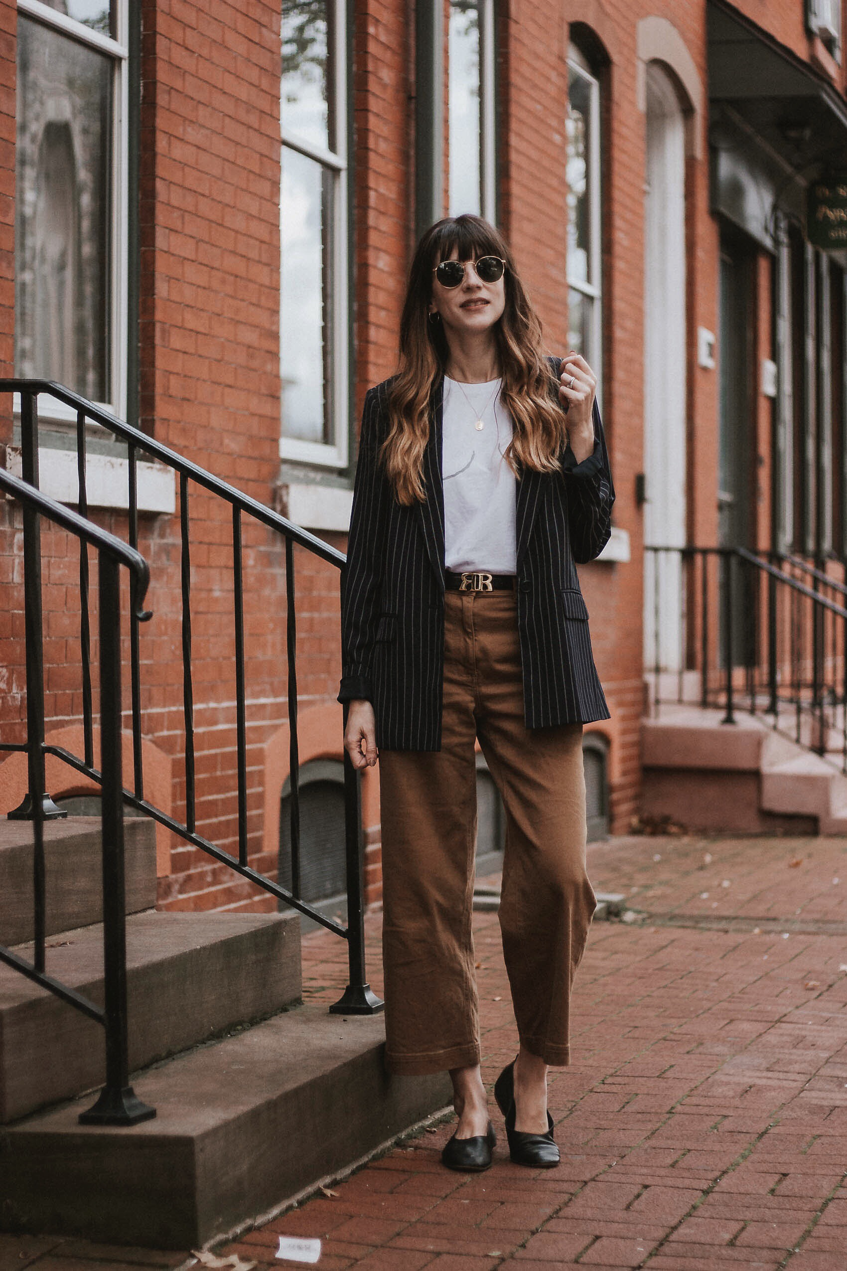 Menswear inspired look featuring Everlane pants and target blazer