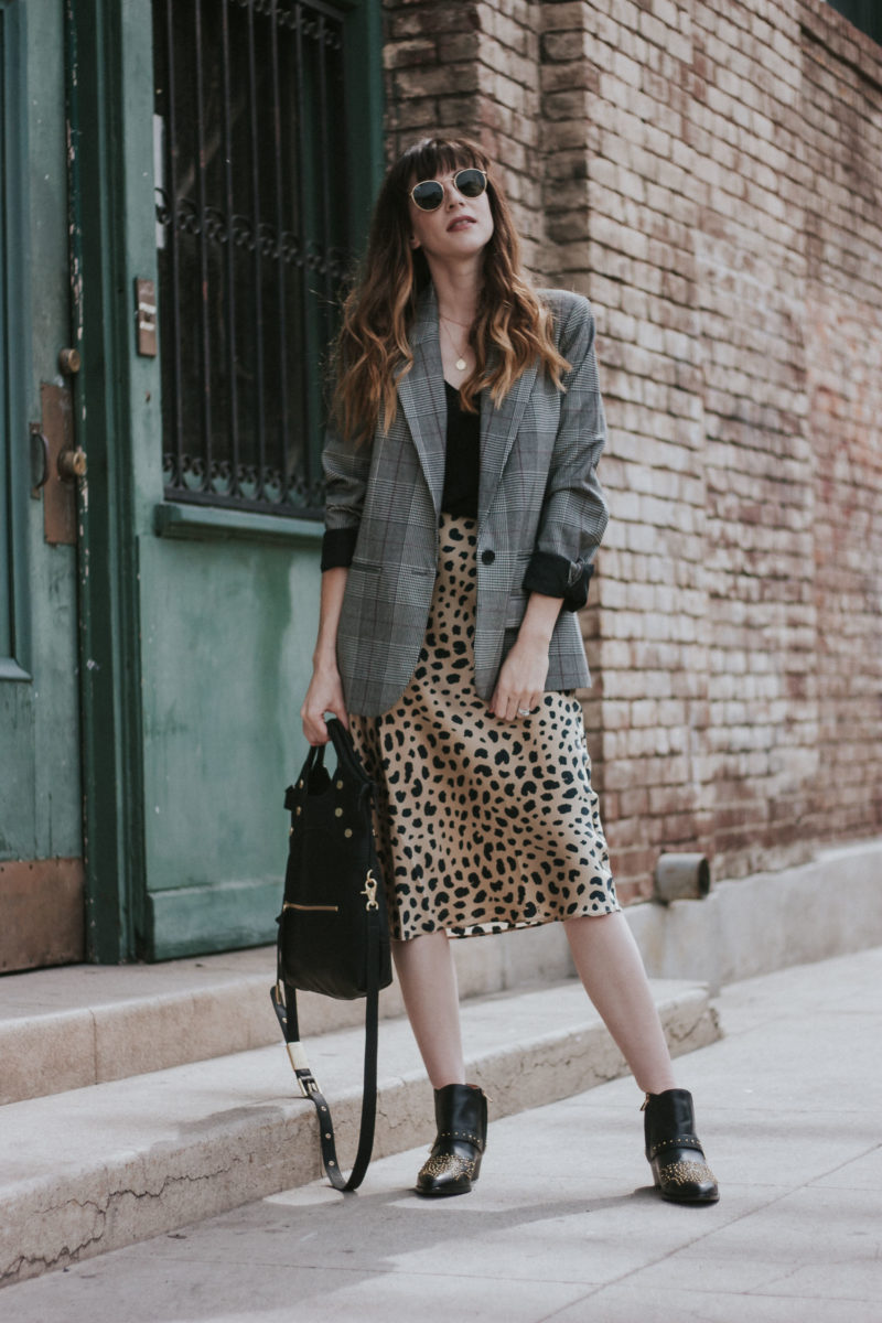 c8cf36afb864 Print Mixing with a Plaid Blazer and Leopard Print Skirt