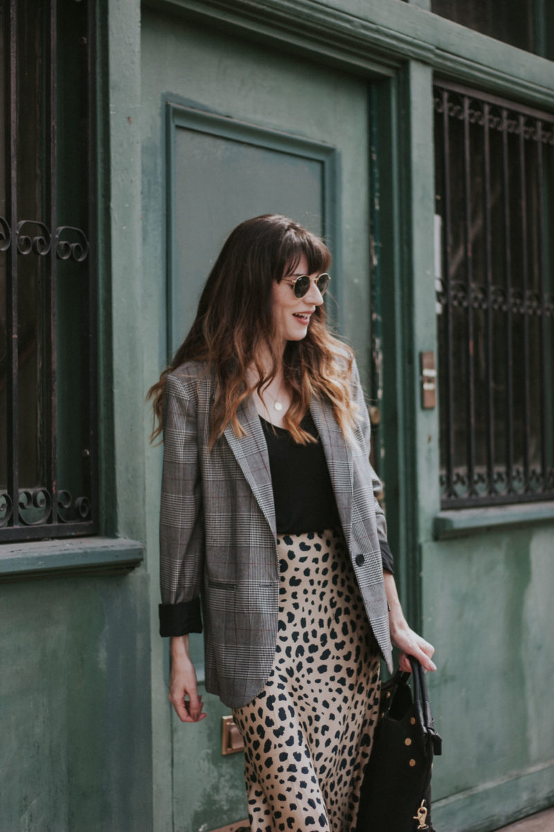 Oversized plaid blazer with & Other Stories tank and Realisation par skirt
