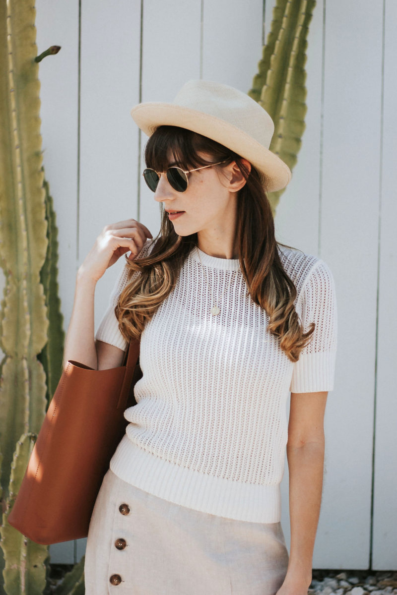 & Other Stories open knit sweater tee and button front linen midi skirt