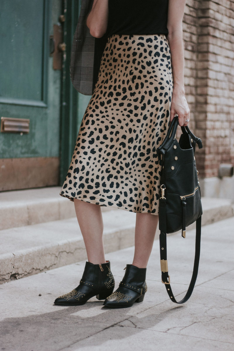 Realisation par The Naomi Wild Things silk skirt with & Other stories studded booties and Foley + Corinna bag