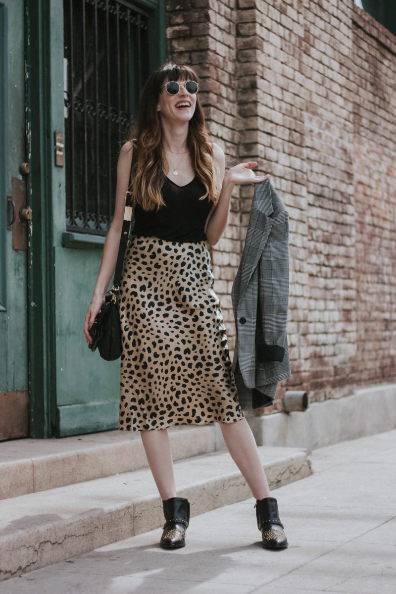Los Angeles Style Blogger wearing & Other stories tank and studded ankle booties