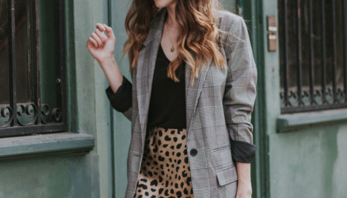 Print Mixing with a Plaid Blazer and Leopard Print Skirt