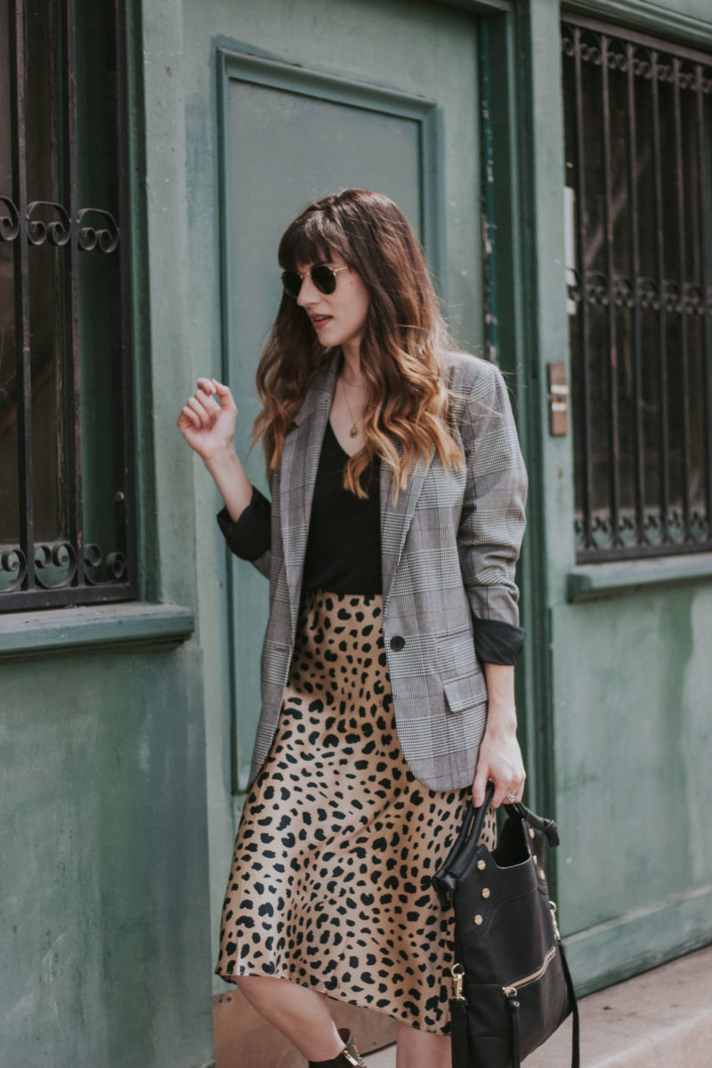 Los Angeles blogger wearing a Target plaid oversized blazer and silk leopard print skirt
