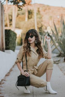 White Topshop Booties, Celine Belt Bag, and tan jumpsuit
