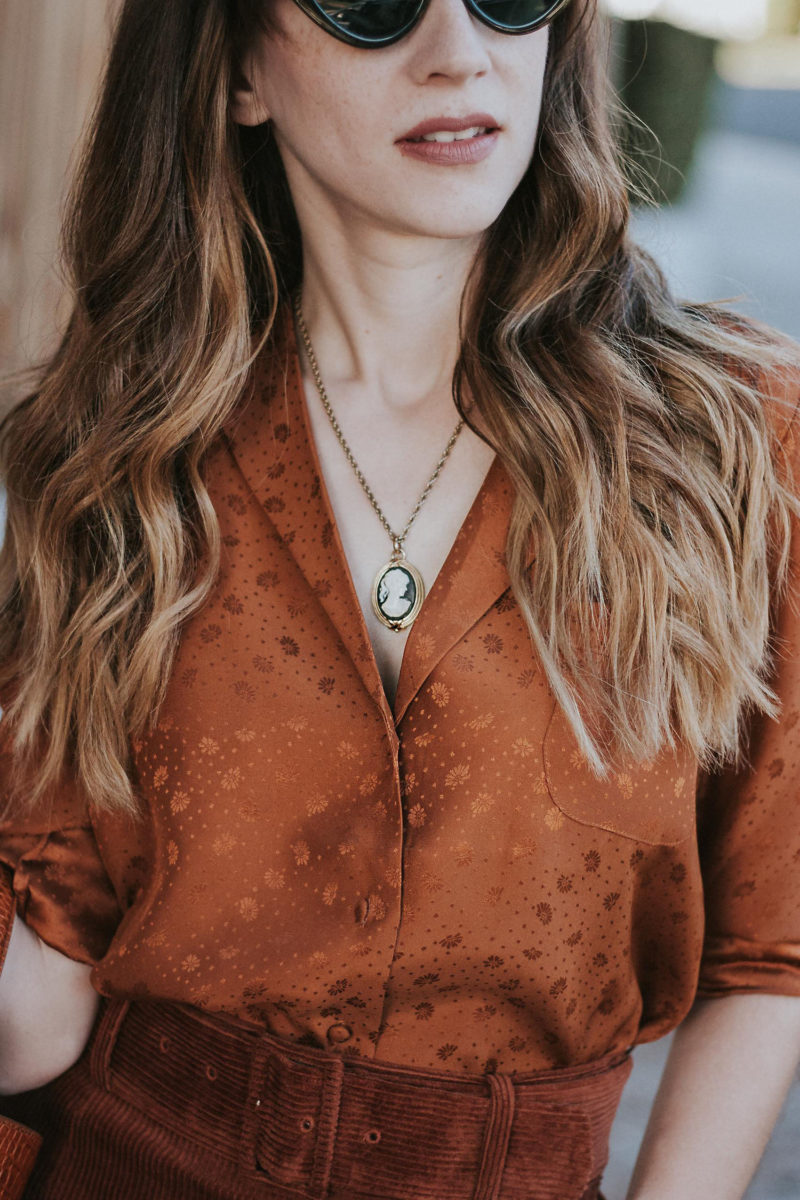 Los Angeles Blogger wearing Sezane Silk Blouse and Vintage Cameo Pendant Necklace