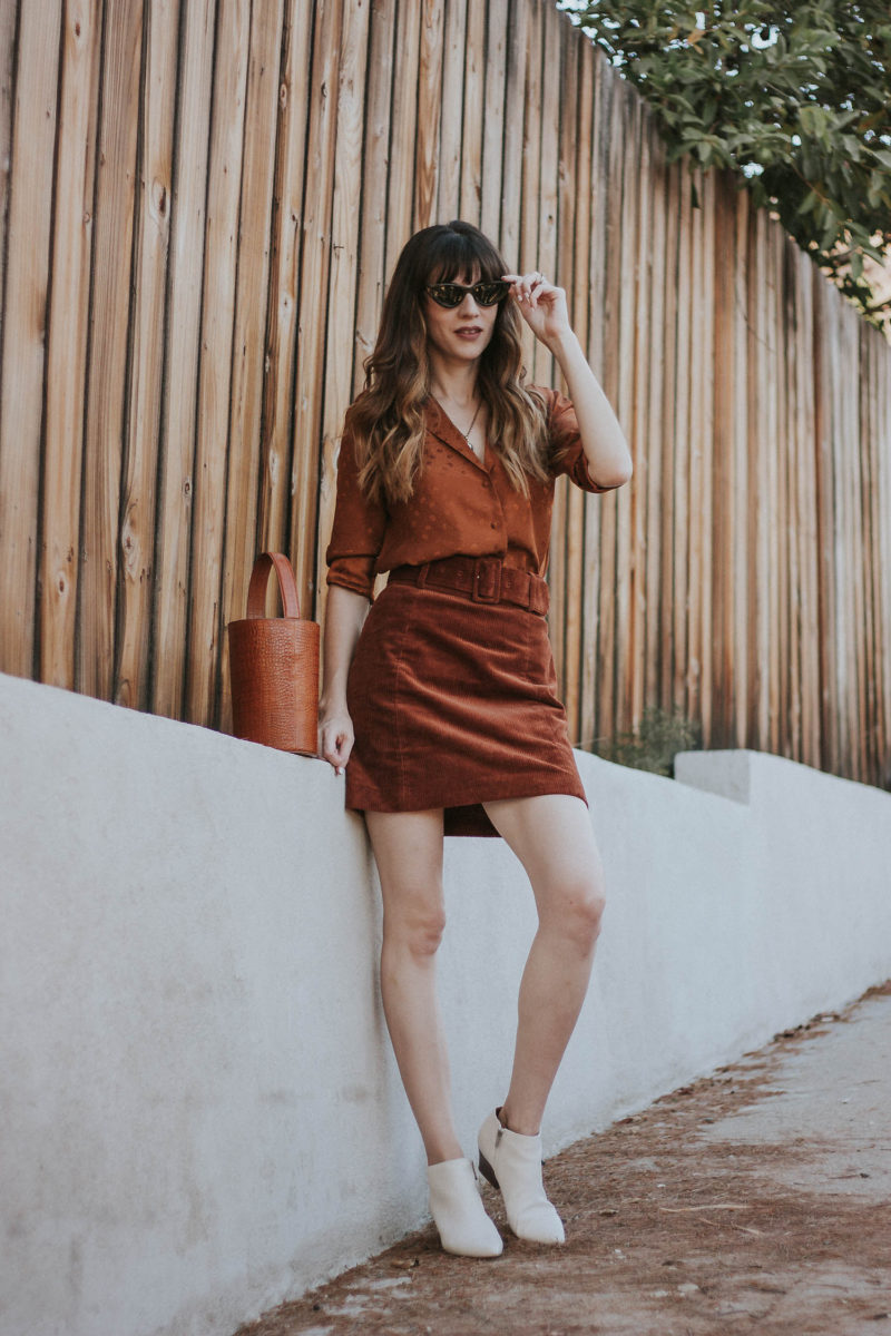 Los Angeles Style Blogger wearing & Other Stories Corduroy Skirt and Sezane Blouse for a monochromatic outfit