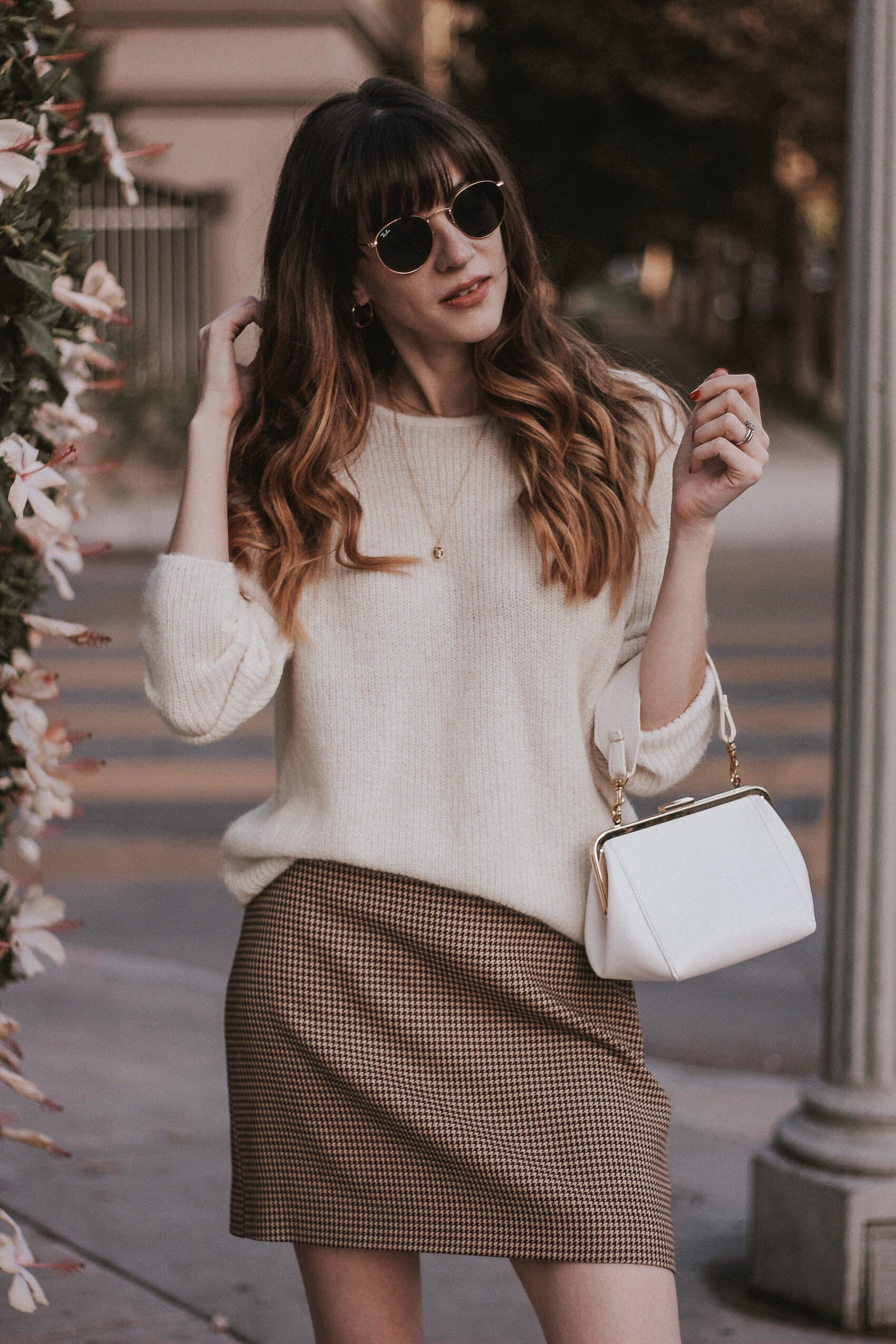 Los Angeles Style Blogger with Clare V. Le Box Bag and Sezane Knit