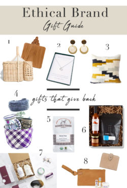 Ethical Brand Gift Guide, Gifts that give back, Holiday gift guide for men and women