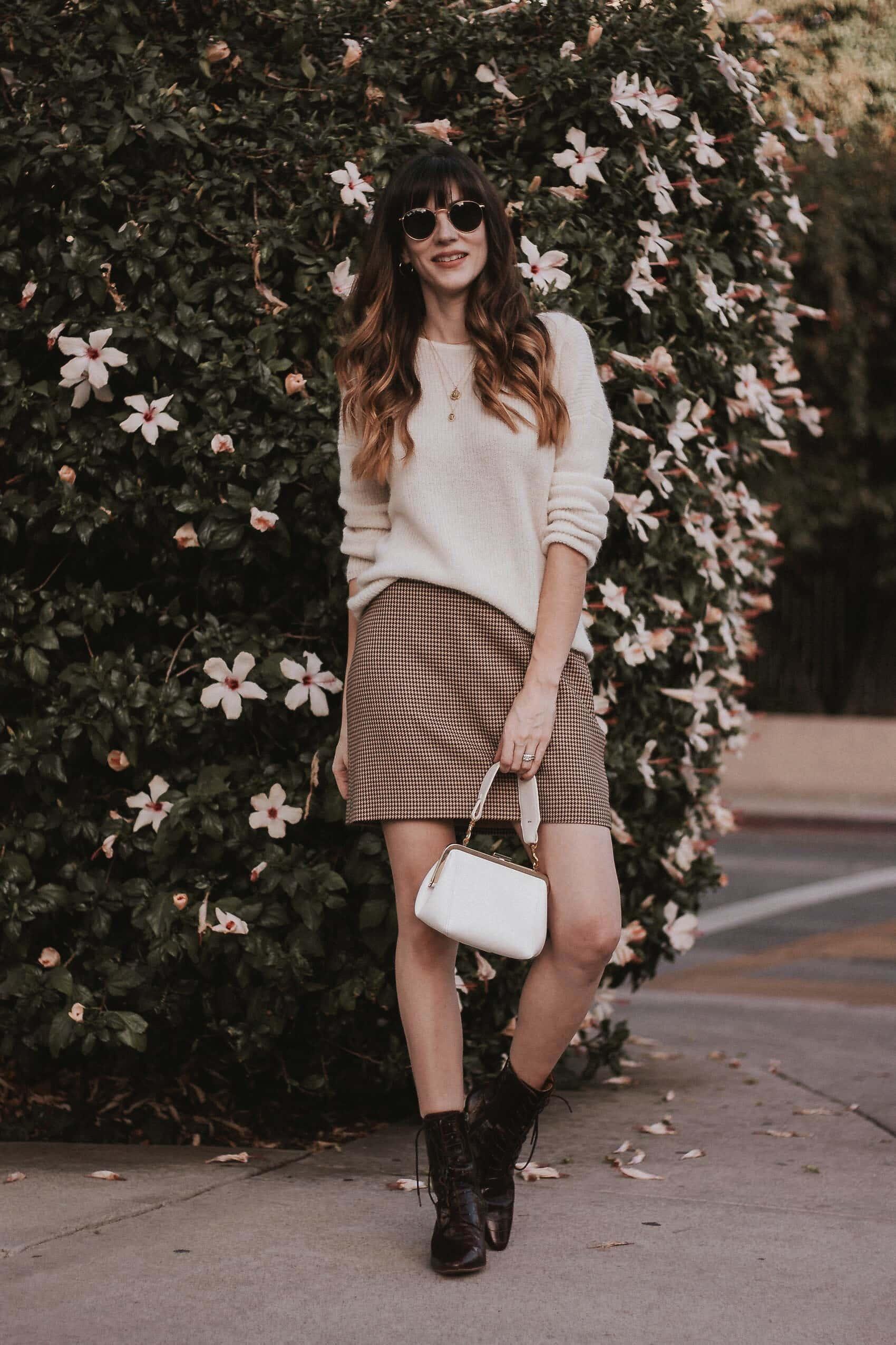 & Other Stories Mini Skirt, Sezane Sweater, Miista Boots