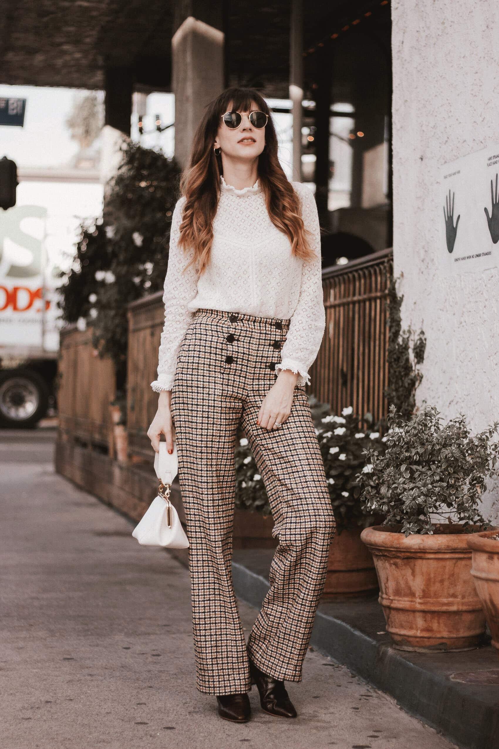 Plaid wool pants, lace top, mini white bag, croc boots