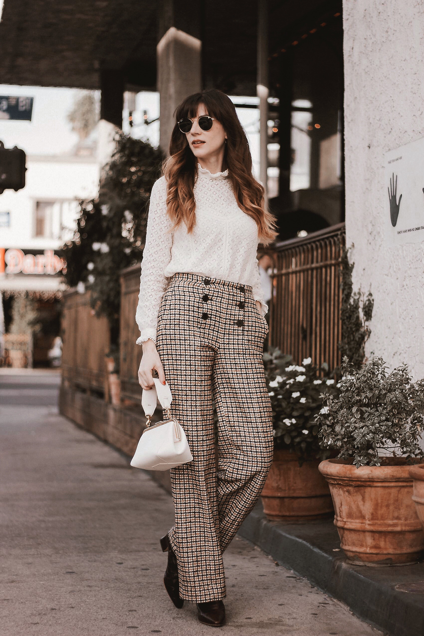Sezane lace top, sezane plaid pants, Miista croc boots