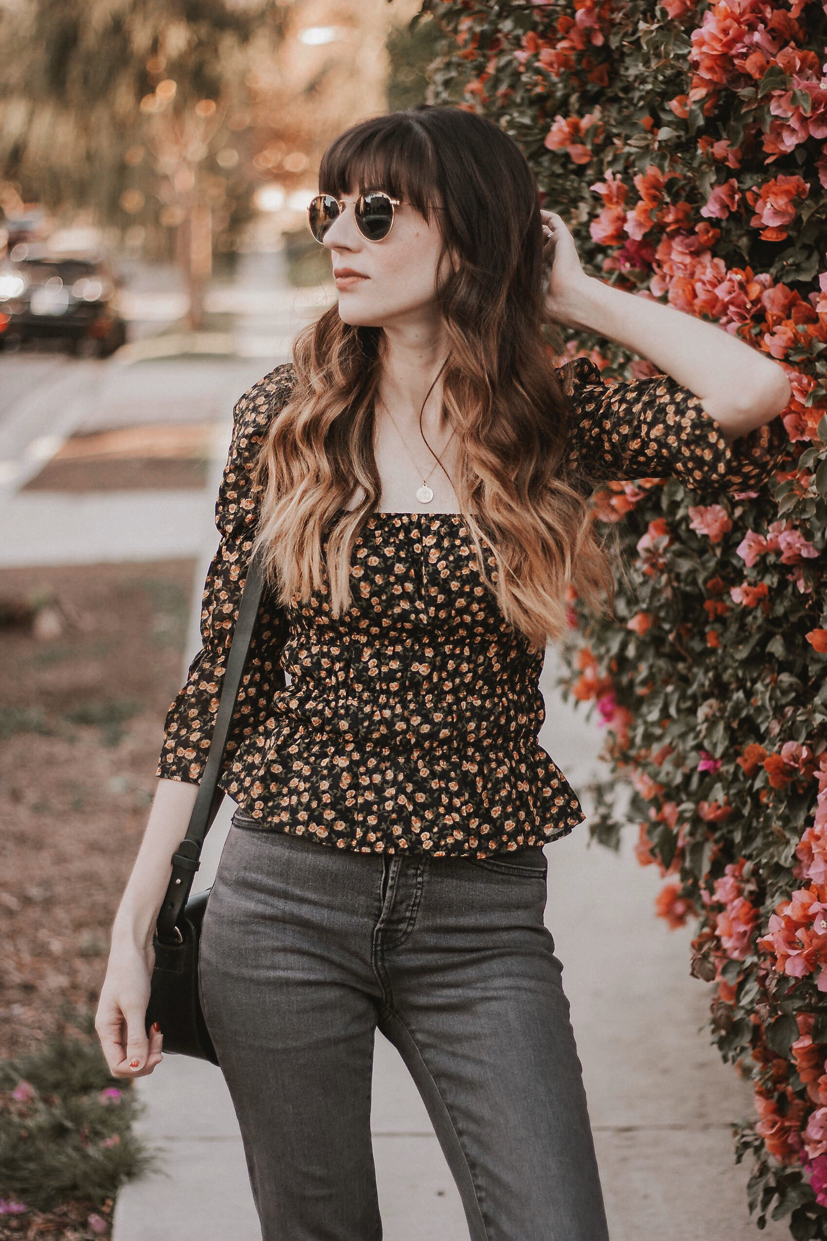Fall Floral Blouse with Everlane Cigarette jeans