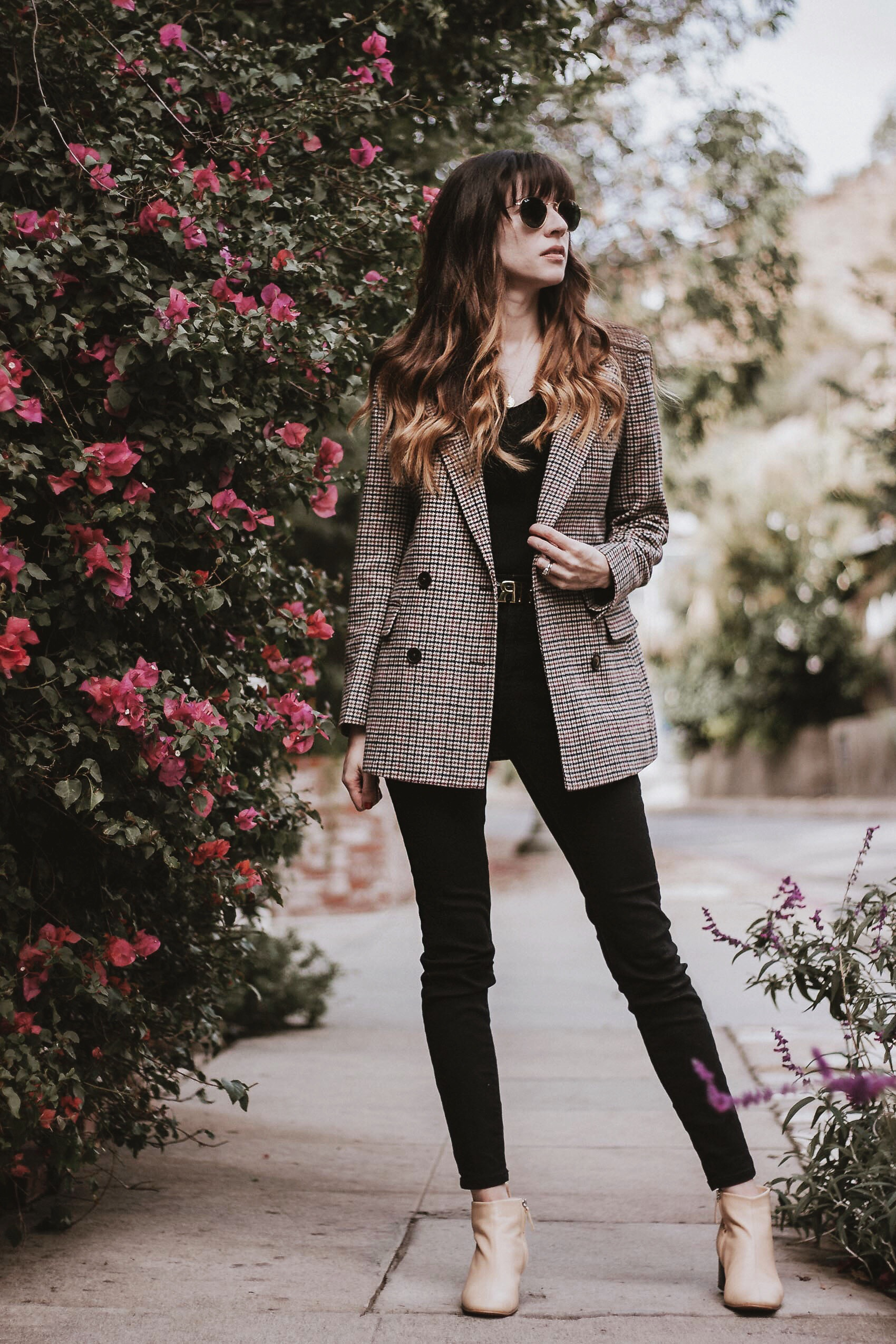 Oversized wool blazer with all black outfit and Everlane Day Boots