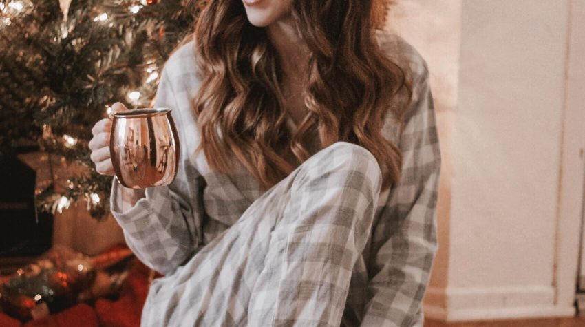 Hygge for the holidays with Mou Boots, Plaid Pajamas, and holiday drink
