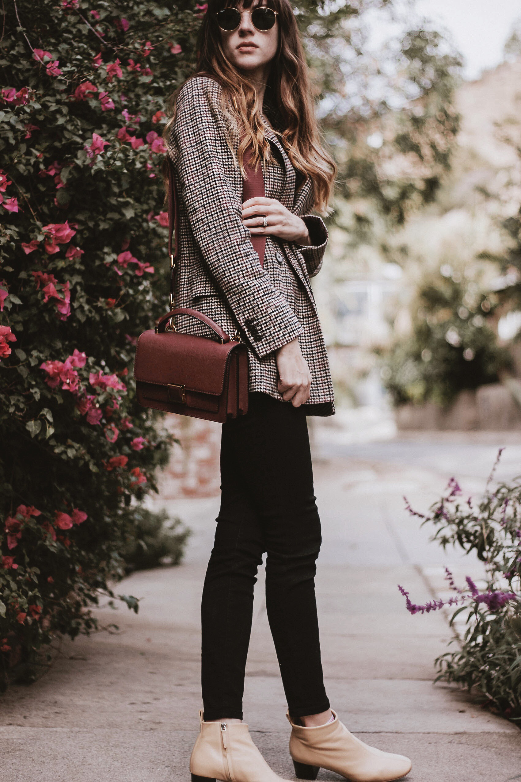 Etienne Aigner maroon bag, Frank and Oak Blazer, Everlane Authentic Stretch denim, Everlane Day Boots
