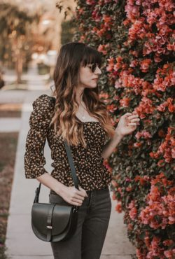 Sezane leather bag with Reformation Fall Floral top