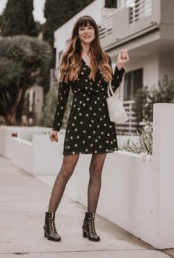 Los Angeles Fashion Blogger wearing & Other Stories Dress, An Hour and a Shower Boots, Topshop Beaded Bag